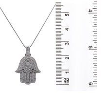 Load image into Gallery viewer, Men's 14K White Gold Hamsa Pendant with 2.95 CT Diamonds