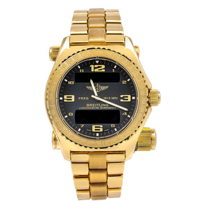 Breitling Emergency K76321 43MM Black Dial With 18k Yellow Gold Bracelet