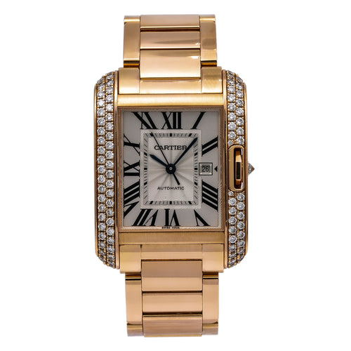 Cartier Tank Anglaise WT100003 30MM Flinque Silver Dial With 1.74 CT Diamonds