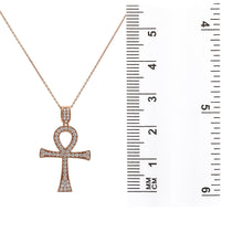 Load image into Gallery viewer, Unisex 14K Rose Gold Ankh Pendant with 1.05 CT Diamonds