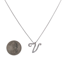 "Load image into Gallery viewer, 14K White Gold Letter ""V"" Women's Pendant with 0.30CT Diamonds"