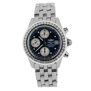 Breitling Chronomat Evolution A13356 45MM Black Dial With 2 CT Diamonds