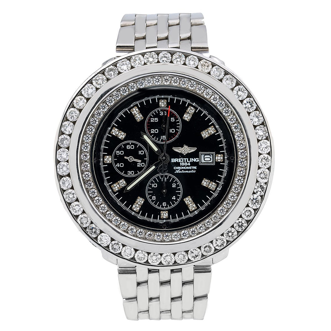 Breitling Navitimer World A24322 46MM Black Diamond Dial With 10.80 CT Diamonds