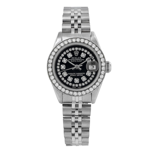 Rolex Ladies Datejust 26mm Black Diamond Dial And Diamond Bezel  2 CT Of Diamonds