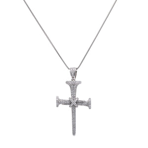 Unisex 14k White Gold Pendant with 0.95 Ct Diamonds