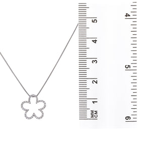 18K White Gold Floating Flower Women's Pendant with 0.64CT Diamonds