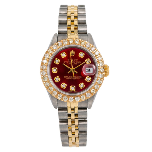 Rolex Lady-Datejust 6917 26MM Red Diamond Dial With Two Tone Bracelet
