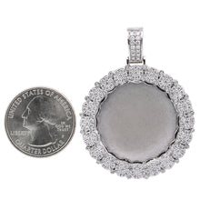 Load image into Gallery viewer, Unisex 14K White Gold Blank Bezel Pendant with 1.70 CT Diamonds