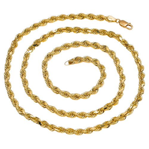 Men's Solid 10K Yellow Gold Rope Chain