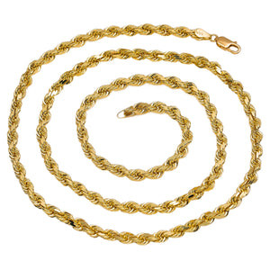 14K Men's Solid Yellow Gold Rope Chain