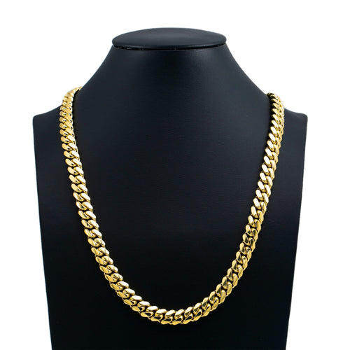 14K Yellow Gold Men's Solid Miami Cuban Link Chain