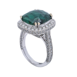 LADIES 18K  WHITE GOLD HAND RING WITH 1.73 CT DIAMONDS AND 5.88 CT EMERALD