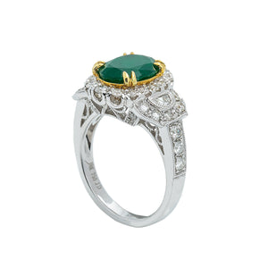 LADIES 18K WHITE GOLD HAND RING WITH 1.21 CT DIAMONDS AND 2.65 CT EMERALD