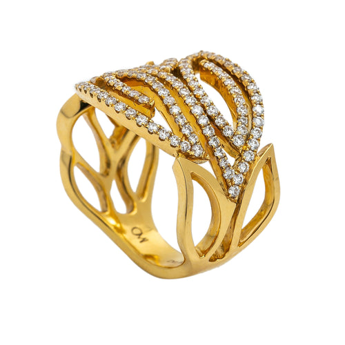 LADIES 18K YELLOW GOLD HAND RING WITH 0.73 CT DIAMONDS