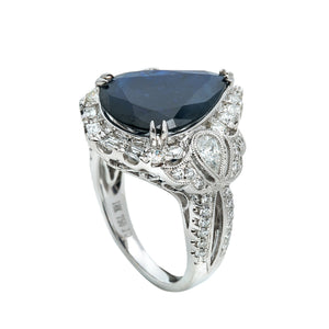 LADIES 18K WHITE GOLD HAND RING WITH 1.31 CT DIAMONDS AND 6.93 CT SAPPHIRE
