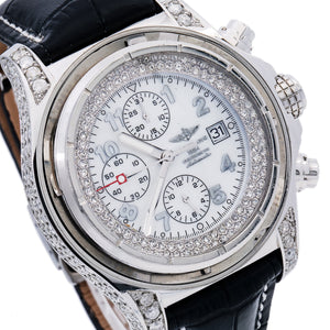 Breitling Super Avenger A13370 48MM White Diamond Dial With Leather Bracelet