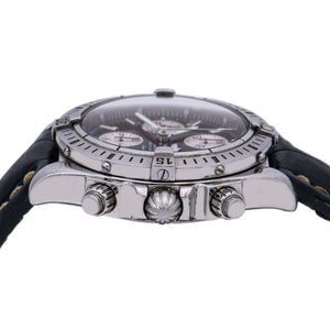 Breitling Chronomat Evolution A13356 44MM Black Dial With Leather Bracelet