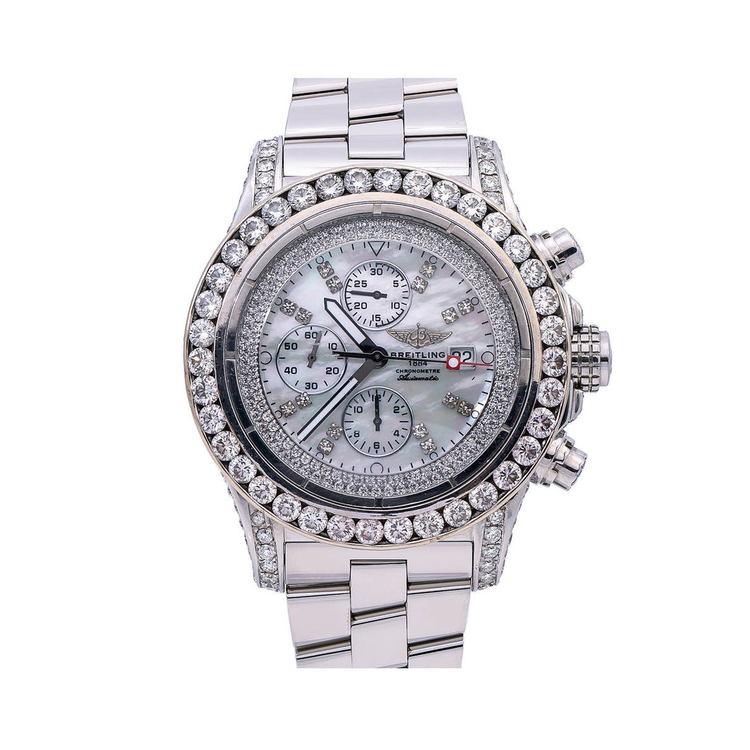 Breitling Super Avenger A13370 48MM White Diamond Dial With 4.65 CT Diamonds
