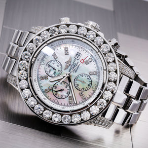 Breitling Chronomat Evolution A11370 42MM MOP Dial With 15 Carat Diamond Bezel