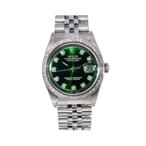 Rolex Datejust 1603 36MM Green Diamond Dial With 1.20 CT Diamonds
