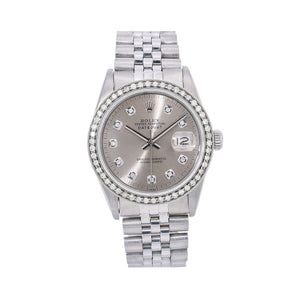 Rolex Datejust 16014 36MM Silver Diamond Dial With 1.20 CT Diamonds