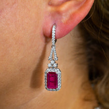 Load image into Gallery viewer, 18K White Gold Ladies Earrings With White: 1.77 CTW Ruby: 5.68 CTW Diamonds