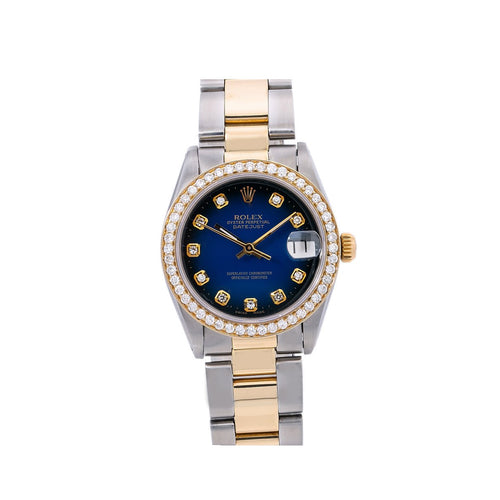 Rolex Oyster Precision 6466 31MM Blue Diamond Dial With 1.25 CT Diamonds