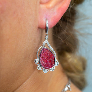 18K White Gold Ladies Earrings With Rubies And Diamonds