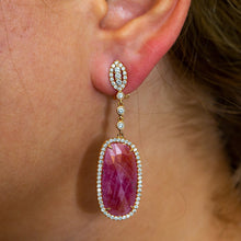 Load image into Gallery viewer, 18K Rose Gold Ladies Earrings With Ruby And Diamonds