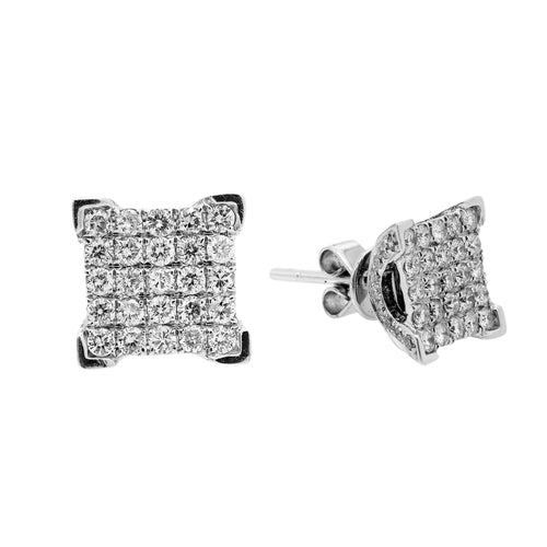 Small 14K White Gold  Unisex  Square Shaped  Diamond Earrings