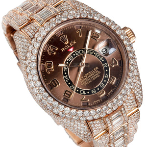 18K Rose Gold Rolex Sky-Dweller 326935 42mm Brown Dial 28.75CT Diamonds