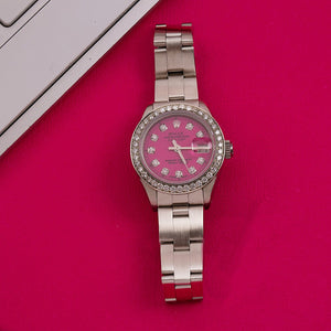 Rolex Oyster Perpetual Datejust 6916 26MM Pink Diamond Dial With 0.90 CT Diamonds