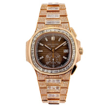 Load image into Gallery viewer, 18K Rose Gold Patek Philippe Nautilus 5980/1R 40.5mm Brown Dial 25CT Diamonds