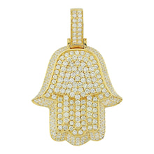 Load image into Gallery viewer, Yellow Gold 3D Hamsa Pendant with Diamonds