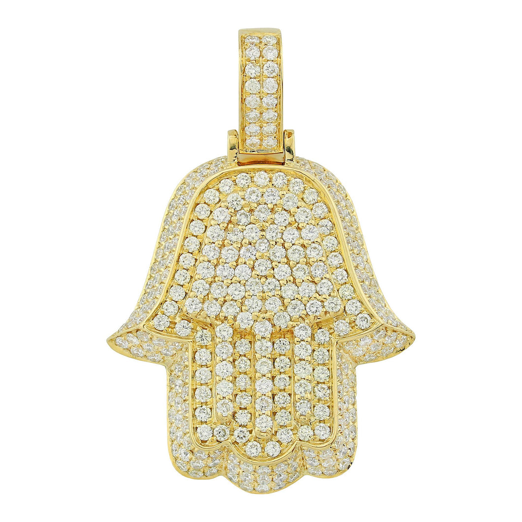 Yellow Gold 3D Hamsa Pendant with Diamonds
