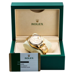 18K Yellow Gold Rolex 326938 Sky-Dweller 42mm Champagne Dial