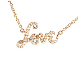 "18K Rose Gold Diamond ""Love"" Pendant with Chain 0.20CT"