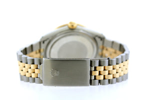 Rolex Datejust 36mm Yellow Gold and Stainless Steel Bracelet Black Roman Dial w/ Diamond Lugs