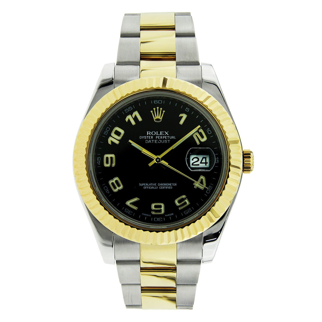 Rolex Datejust II Stainless Steel & Yellow Gold Black Dial 41mm 116333