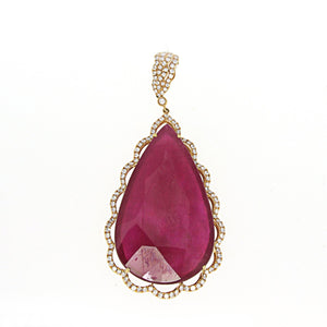 Rose Gold Pendant with Diamonds and Pear Shaped Ruby Center