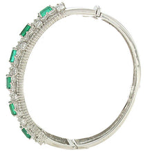 Load image into Gallery viewer, 18K White Gold Bangle With Variety Of Different Diamonds And 3.94CT Of Green Emeralds Total CT weight Is 8.50CT