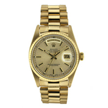 Load image into Gallery viewer, Vintage Rolex Day Date Yellow Gold Index Dial 36mm 18038