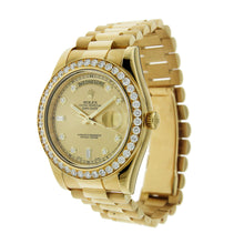 Load image into Gallery viewer, 18K Yellow Gold Rolex Day Date II 41mm Champagne Diamond Dial & 5CT Diamond Bezel