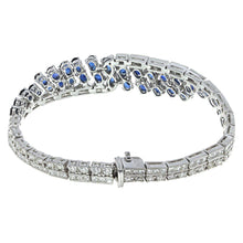Load image into Gallery viewer, 18K White Gold Diamond and Sapphire Bracelet With Round Cut Diamonds 5.45CT Sapphire Weight Is 8.94CT