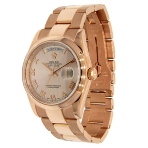 18K Rose Gold Rolex Day Date Presidet 36mm Pink Champagne with Roman Numeral Dial