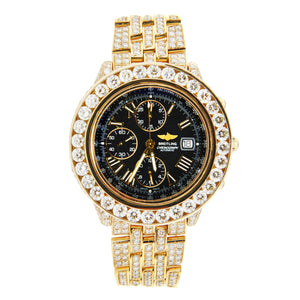 Breitling Windrider Crosswind 18K Yellow Gold Iced Out 44mm A13355