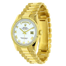 Load image into Gallery viewer, 18k Yellow Gold Rolex Day Date 36MM White Gold with roman Numerals 18038