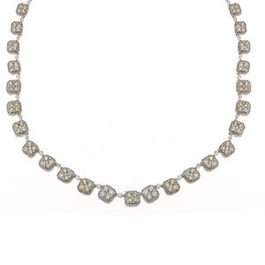 18K White Gold Fancy Necklace With White And Yellow Round Cut Diamonds Total 14.76CT