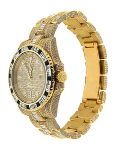 18K Yellow Gold Rolex GMT Master II 40mm Diamond Dial W/ 40CT Diamond Bezel, Lugs and Bracelet 116758