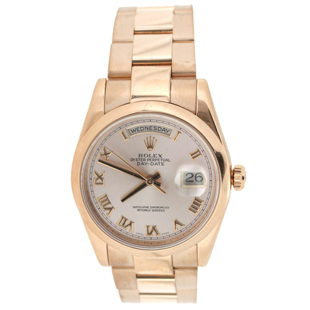 18K Rose Gold Rolex Oyster Perpetual Day Date President 36mm Roman Numerals Dial 118205